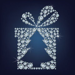Gift present with Сhristmas tree made up a lot of diamonds