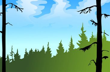 Summer day vector landscape.