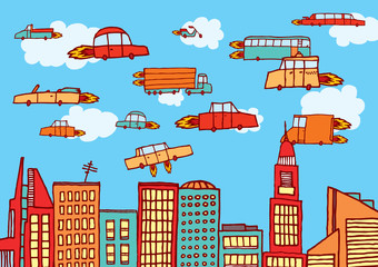 Future cars flying over the city