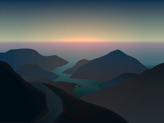 illustration of a misty sunrise in mountains at the ocean