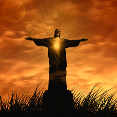 jesus in a grass and sun,sky,clouds background