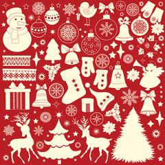 Christmas retro icons, set of Christmas elements