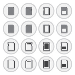 Vector of flat icon, compact memory card set