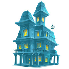 haunted house in halloween on white background