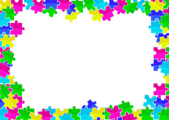 frame from scattered colored flat puzzles toys