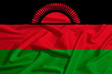Malawi flag on a silk drape waving