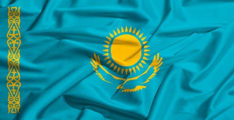 Kazhakistan flag on a silk drape waving