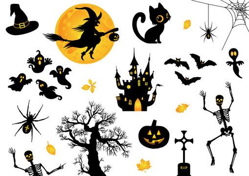 Halloween, Icon, Sammlung, Vektor, schwarz, orange