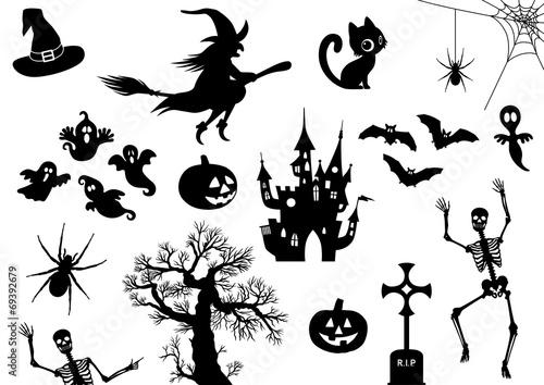 Halloween, Icon, Piktogramm, Set, Sammlung, Vektor, schwarz ...