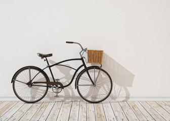 3d model of black retro bicycle with basket, background