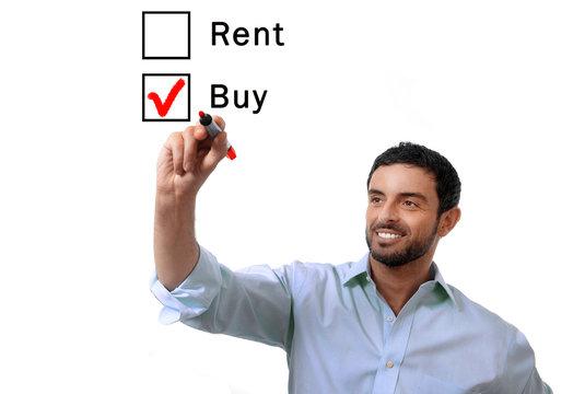 businessman choosing rent or buy  real estate concept