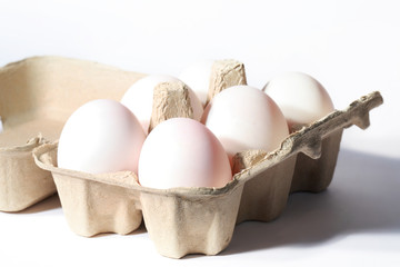 fresh eggs in box.