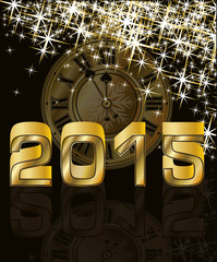 Golden new 2015 year and clock, vector illustration