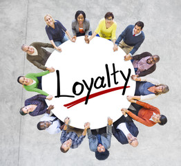 Group of People Holding Hands with Letter Loyalty