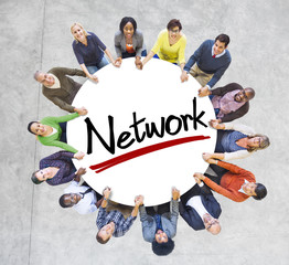 Group of People Holding Hands with Letter Network