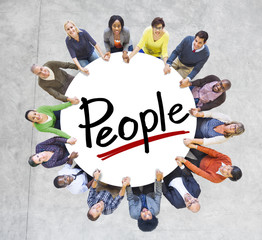 Group of People Holding Hands Around Word People