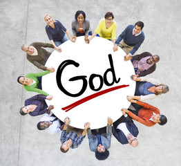 Group of People Holding Hands with Word God