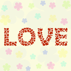 Love wording made from red heart shape