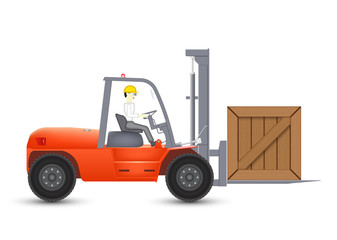 Forklift and wood crate