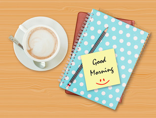 Good morning and smile on blank paper with coffee cup on wood ba