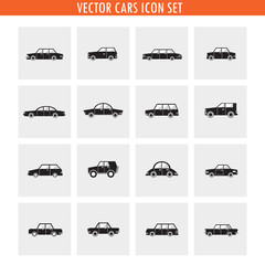 Car icon set in black and white. Transportation