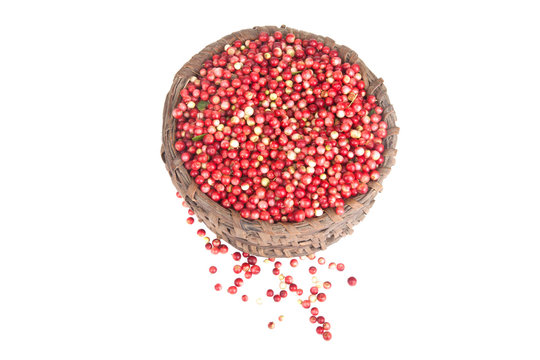 berries a cowberry in the old basket isolated on white backgroun