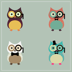 Set of Cute Hipster Owl | EPS10 Design