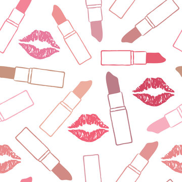 Vector seamless pattern background with lips and lipsticks 2
