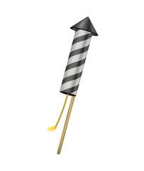Firework rocket with burning wick