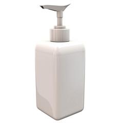 White blank plastic bottle with dispenser pump, 3d illustration