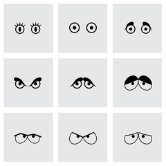 Vector black cartoon eyes icons set