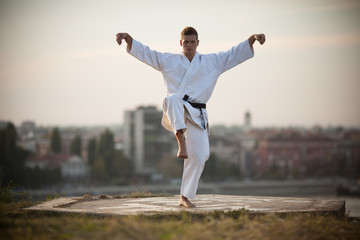 Martial art fighter is practicing