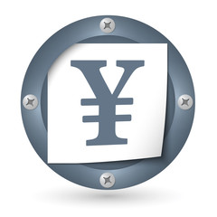 dark abstract icon with paper and yen symbol