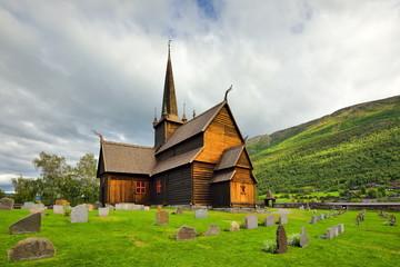 Wall Mural - Drewniany kościół , Lom , Norwegia