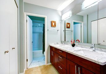 Simple bathroom interior with vanity cabinet and mirror