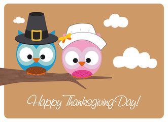 thanksgiving card, two cute owls wearing pilgrim clothes
