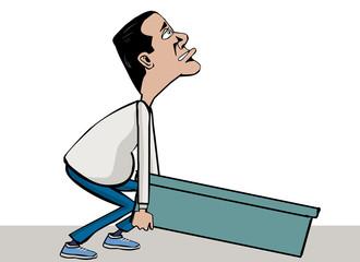man heavy lifting back pain