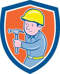 Carpenter Builder Hammer Shield Cartoon