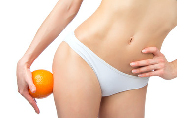 Hip legs abdomen and orange in hand cellulite liposuction