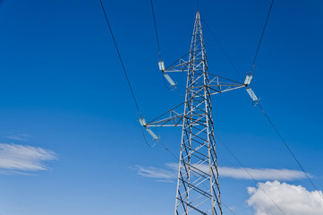 Electric Transmission Tower With Blue Sky - DSC6126