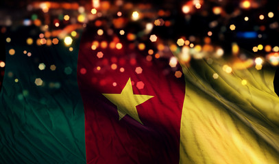 Cameroon National Flag Light Night Bokeh Abstract Background