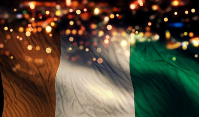Cote D'Ivoire National Flag Light Night Bokeh Abstract