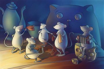 Cat gone from home, mice start dancing