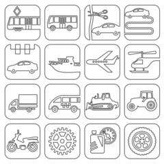Icons transport and technology contour