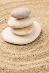Stones raked sand