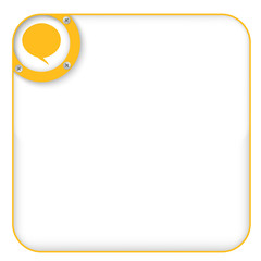 yellow box for entering text with speech bubble