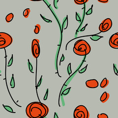 Wild roses / Seamless pattern with flowers