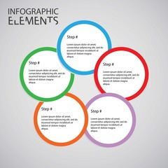 Infographic design with colored and white circles on the grey ba
