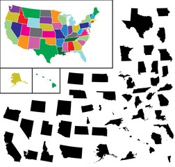 Illustrated Map of United States of America