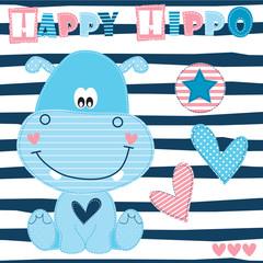 happy hippo vector illustration